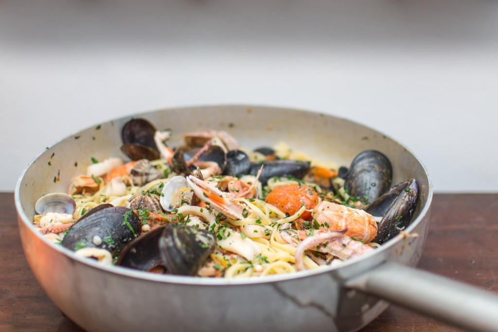 Italiensk pasta: linguine med skaldyr